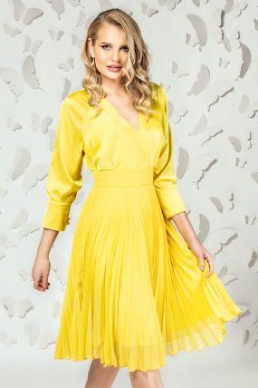 Fusta Pretty Girl galben-mustar din voal plisat