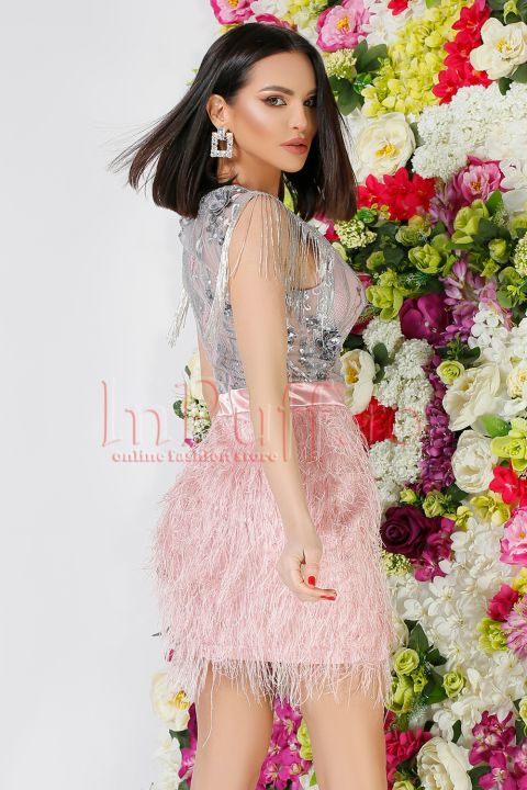Rochie Atmosphere din dantela gri si fulgi roz