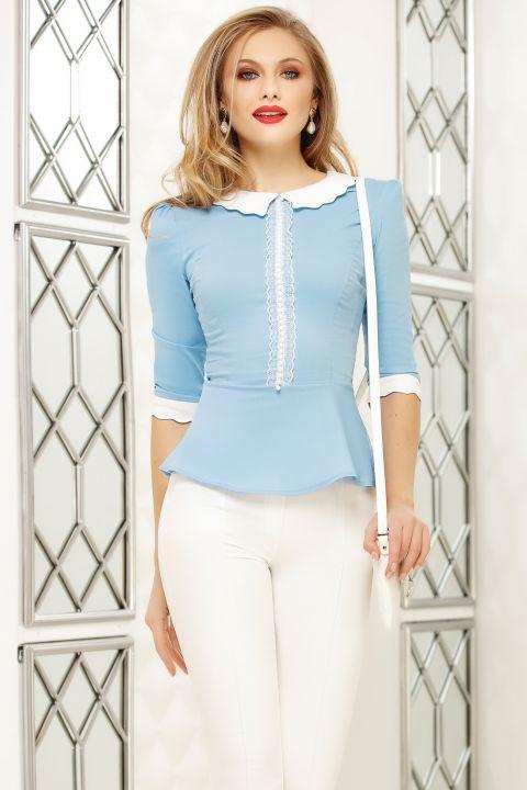 Camasa Fofy bleu cu guler alb si aplicatii perle si dantela