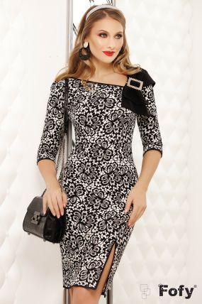 Rochie Fofy neagra cu imprimeu dantelat si funda stilizata cu catarama