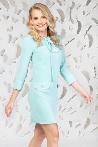 Rochie Pretty Girl office turquoise cu esarfa