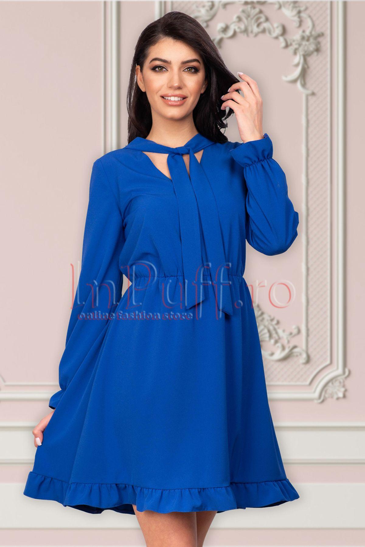 Rochie Moze albastra cu volanase si cret in talie Moze