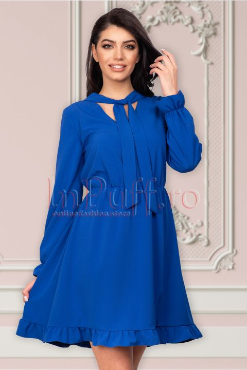 Rochie Moze albastra cu volanase si cret in talie