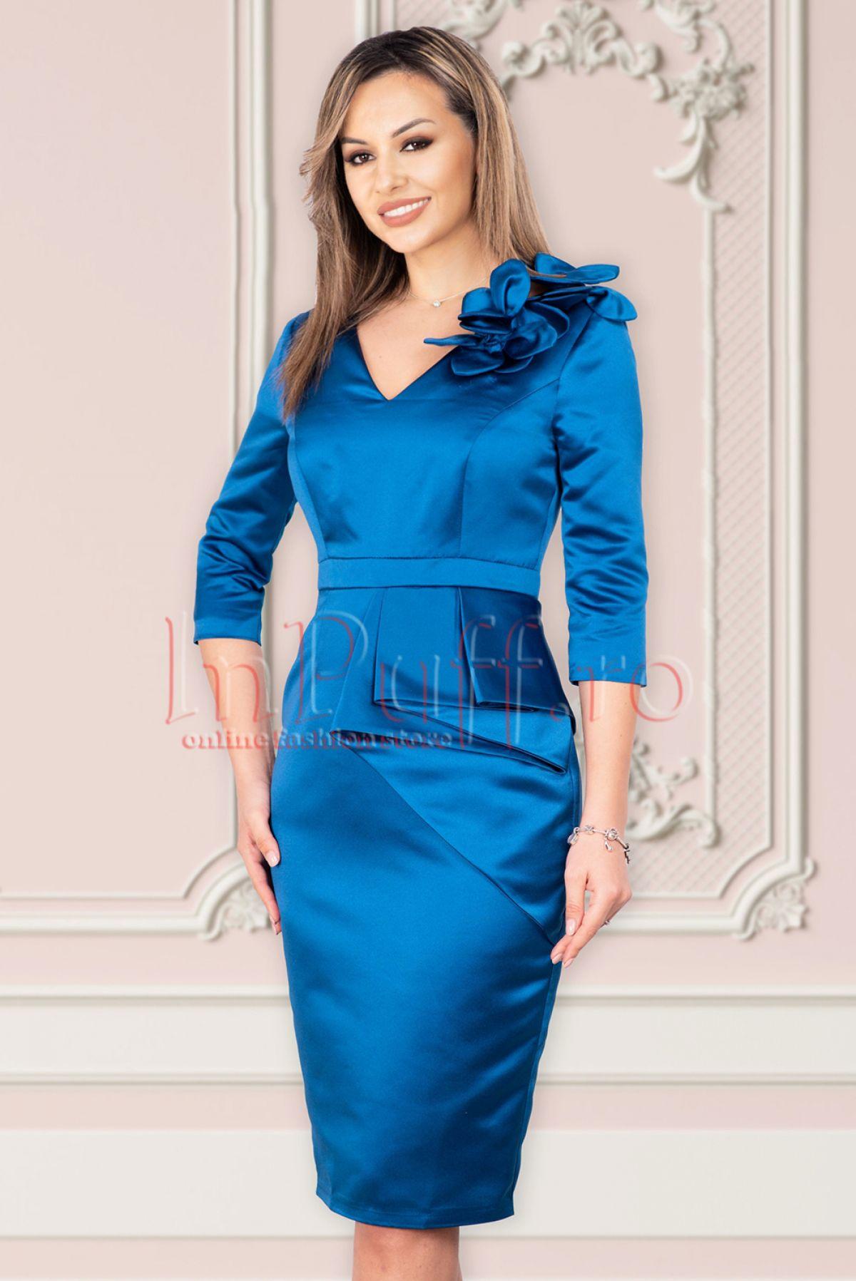Rochie MBG de ocazie din tafta albastra cu peplum asimetric MBG-Collection