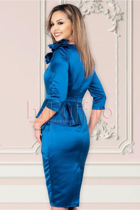Rochie MBG de ocazie din tafta albastra cu peplum asimetric