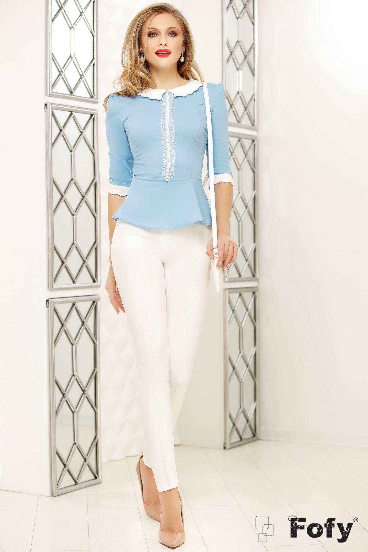 Pantaloni dama conici albi Fofy