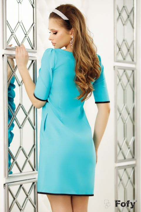 Rochie Fofy turquoise volan si brosa