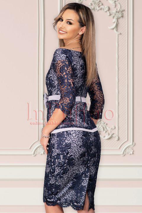 Rochie MBG eleganta cu broderie bleumarin si paiete