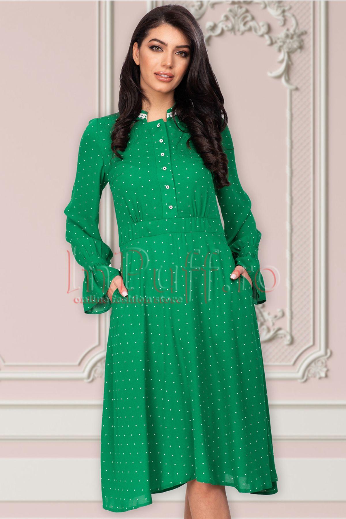 Rochie verde cu buline Moze Moze