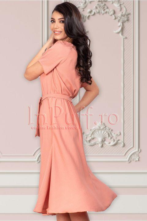 Rochie eleganta de vara piersica din voal creponat