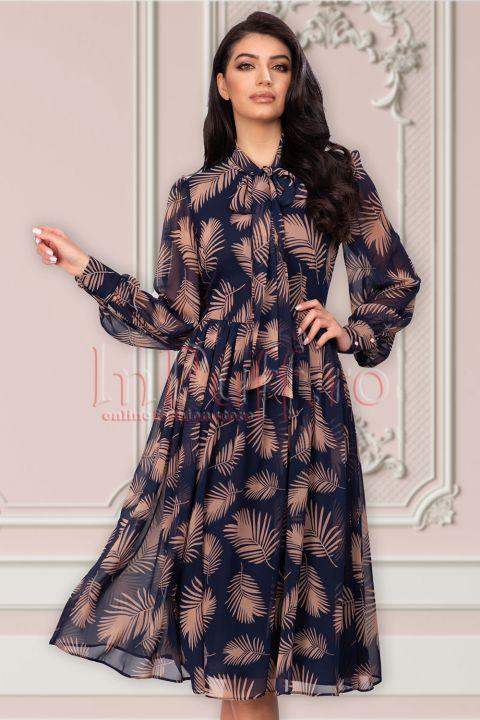 Rochie La Donna bleumarin din voal cu frunze stilizate