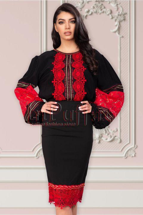 Bluza Venezia neagra cu broderie rosie si maneci bufante