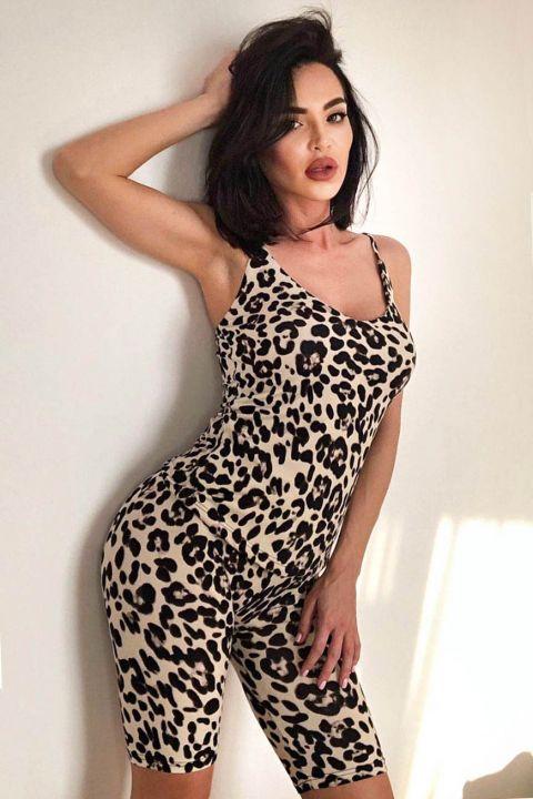 Pijama comoda din doua piese cu imprimeu leopard