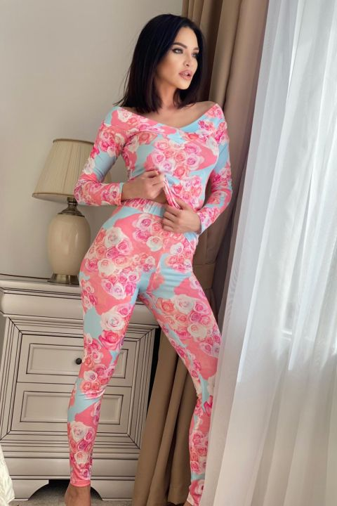 Pijama fashion roz cu imprimeu floral