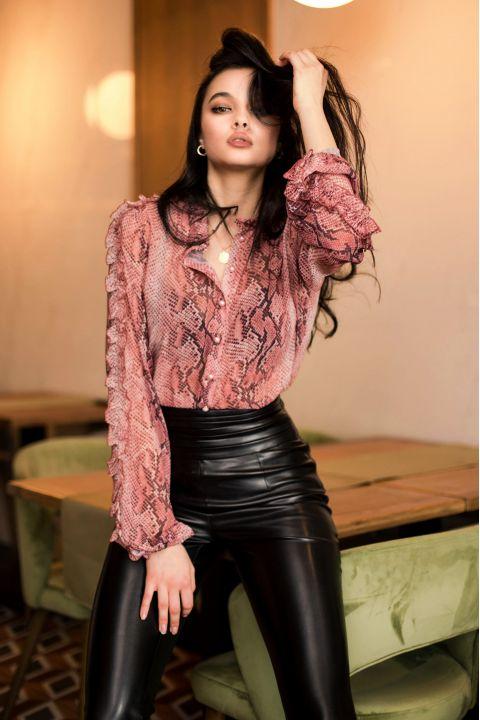 Camasa eleganta dama Pretty Girl cu imprimeu deosebit rose tip snake