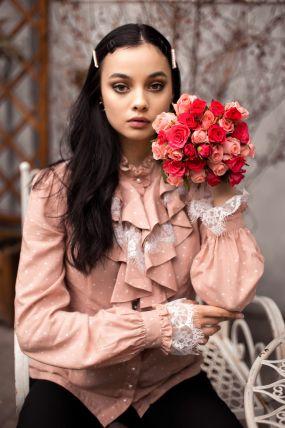 Camasa MBG roz cu buline albe si jabou