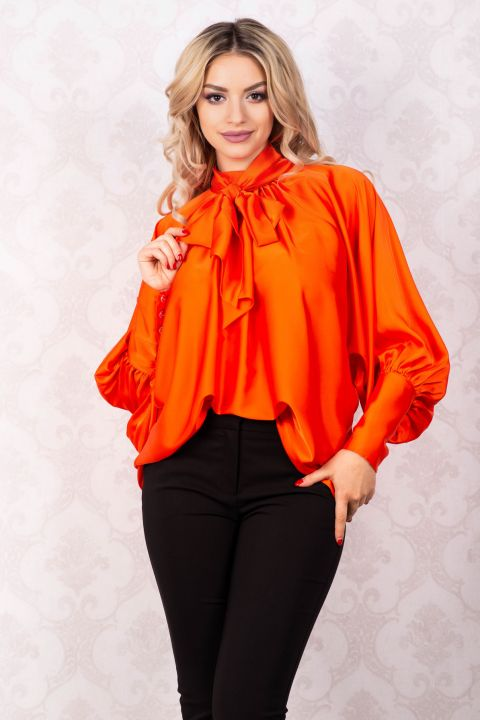 Bluza Effect orange din satin cu funda din panglici