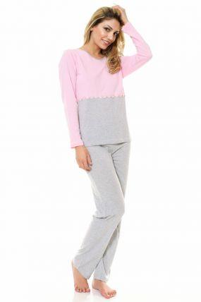 Pijama lejera cu floricele aplicate bicolora