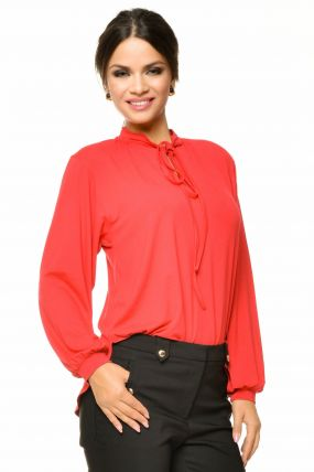Bluza casual rosie cu maneca lunga