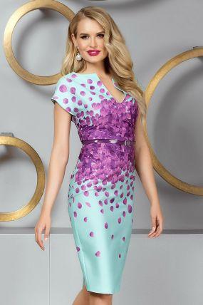 Rochie de seara midi aqua cu imprimeu deosebit si curea in talie