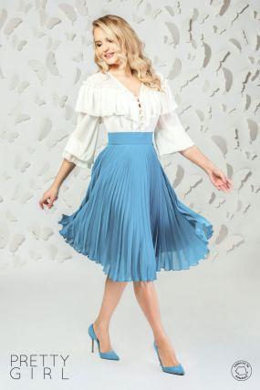 Fusta Pretty Girl bleu din voal plisat