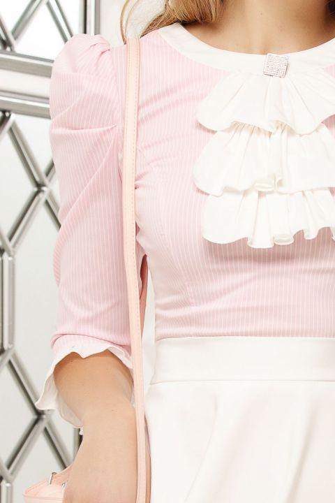 Camasa Fofy roz cu dungulite , jabou si brosa cristalizata