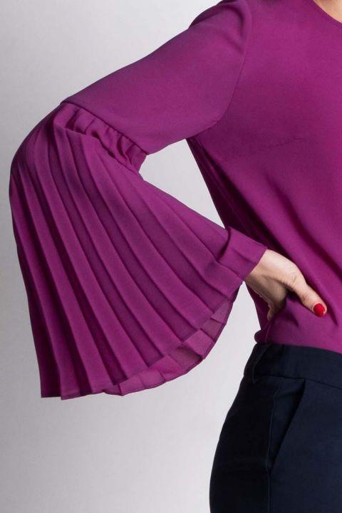 Bluza Xara din voal ciclam cu maneca lunga plisata