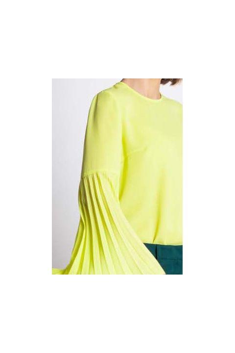 Bluza Xara din voal lime cu maneca lunga plisata
