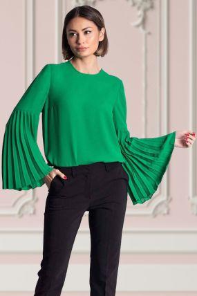 Bluza Xara din voal verde cu maneca lunga plisata