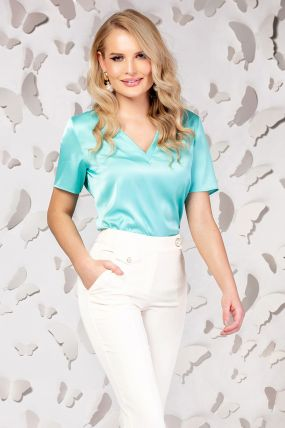 Bluza Pretty Girl turquoise cu decolteu in V