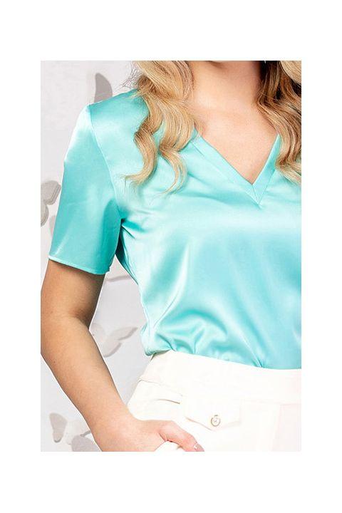 Bluza Pretty Girl turquoise cu decolteu in V