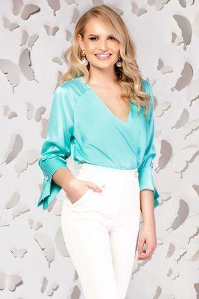 Bluza Pretty Girl turquoise din satin cu mansete late