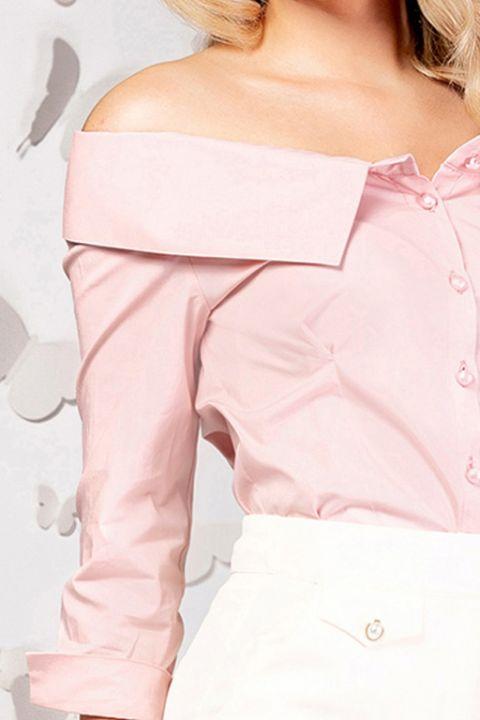 Camasa office Pretty Girl roz pudra cu umerii goi