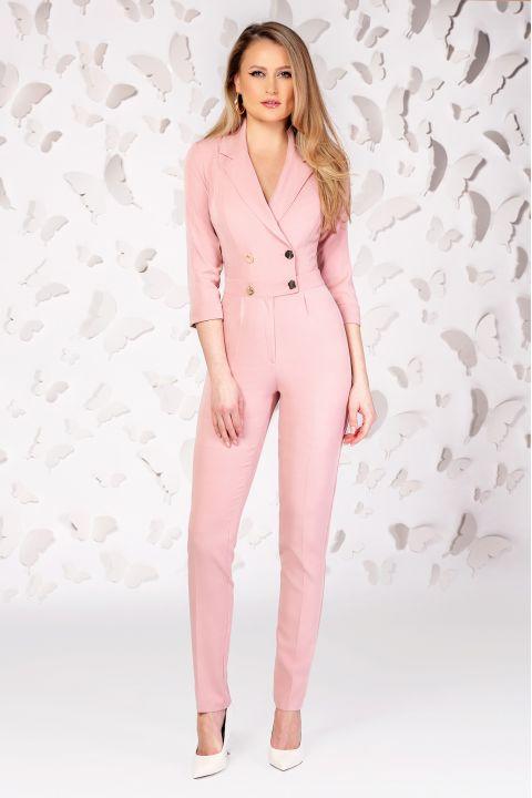 Salopeta eleganta roz pudra cu maneca trei sferturi