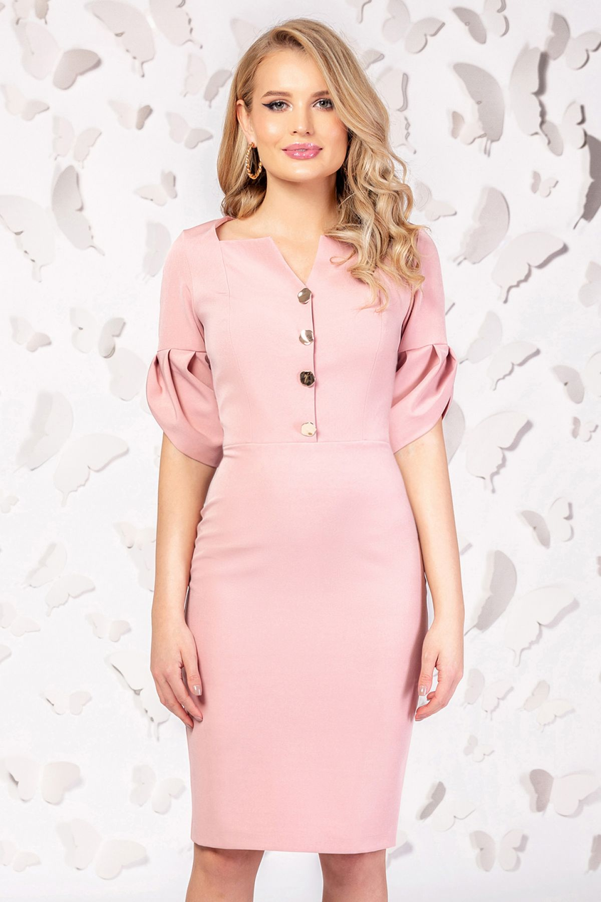 Rochie office conica roz pudra Pretty Girl Pretty-Girl