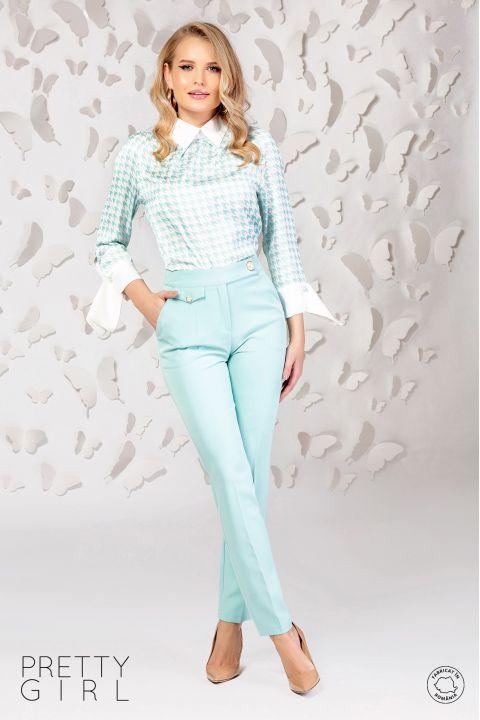 Pantaloni office Pretty Girl mint cu talie inalta