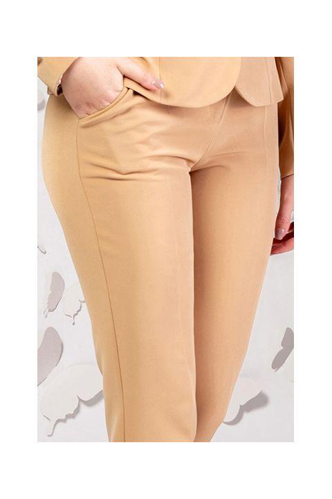Pantaloni office Pretty Girl bej cu talie inalta