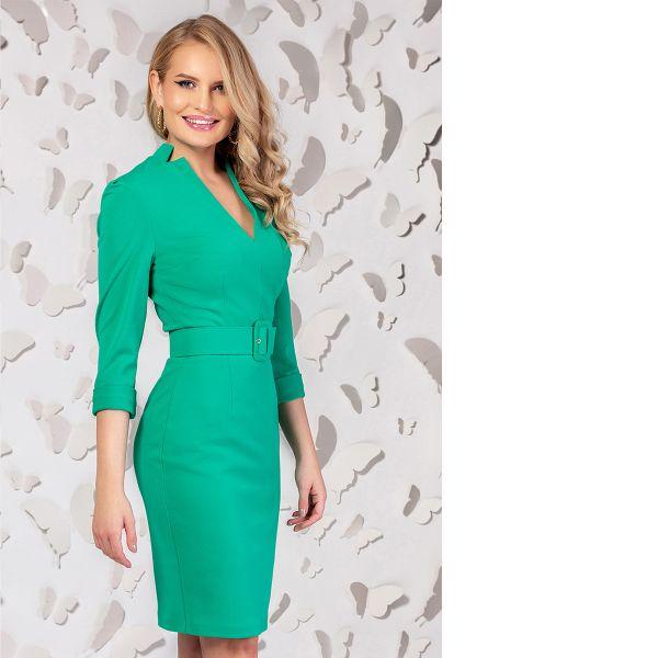 Rochie office Pretty Girl verde cu accesoriu tip curea