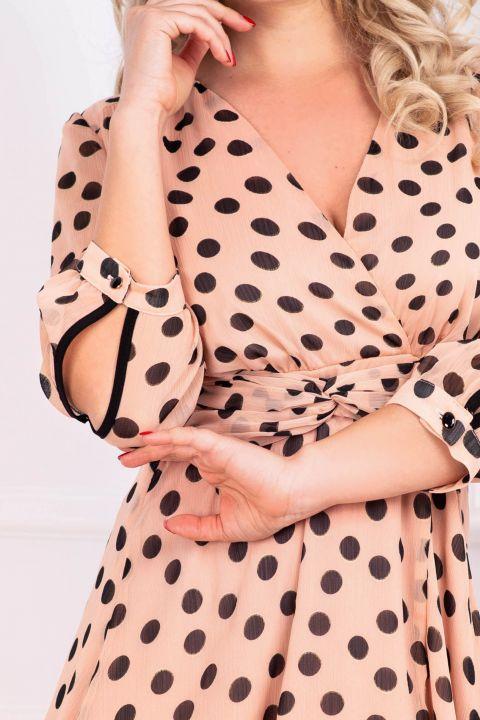 Rochie Moze din voal roz cu buline negre