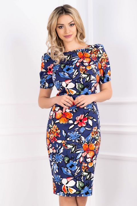 Rochie din bumbac conica cu imprimeu floral