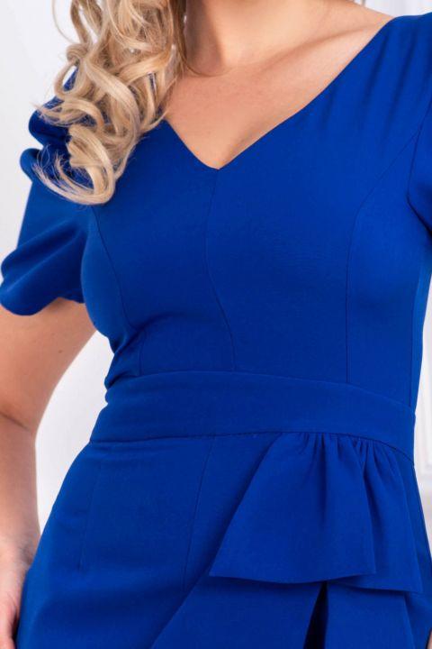 Rochie office Fofy albastra cu funda stilizata