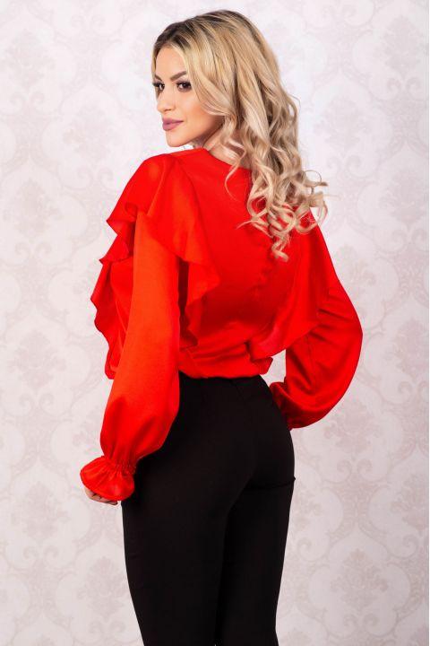 Bluza rosie din vascoza cu volanase laterale