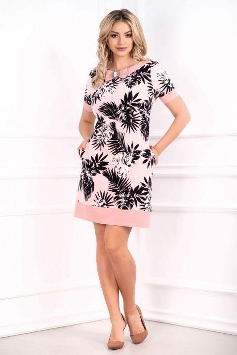 Rochie MBG roz prafuit cu imprimeu frunze si brosa nedetasabila