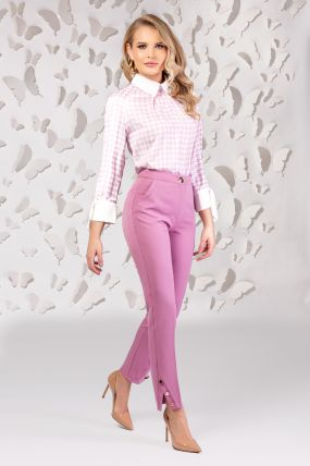 Pantaloni Pretty Girl office roz cu nasturi aurii