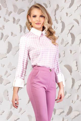 Bluza office roz cu guler si mansete oversize