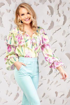 Bluza Pretty Girl galbena cu imprimeu floral si volanase