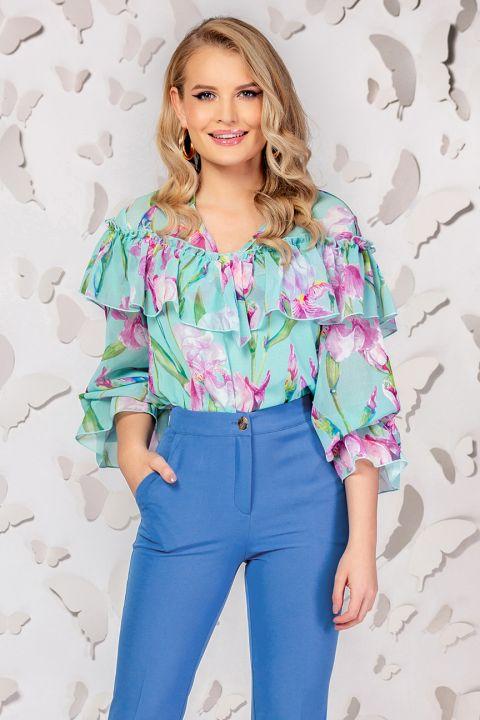 Bluza Pretty Girl vernil cu imprimeu floral si volanase