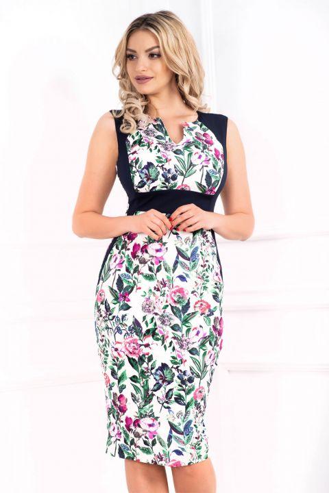 Rochie de zi MBG conica cu imprimeu floral