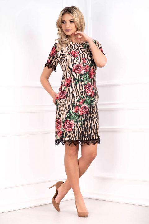 Rochie MBG leopard cu imprimeu floral si dantela