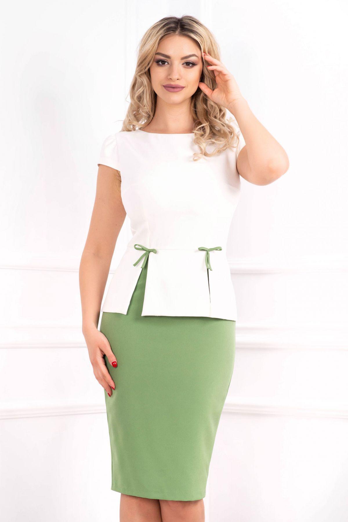 Rochie eleganta MBG olive cu peplum in talie